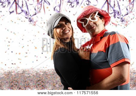 Brazilian couple enjoying a Carnival party