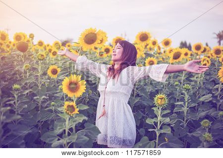 Beauty Woman With Field Of Sunflowers Vintage Tone