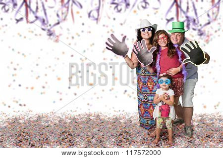 Happy Brazilian family at Carnival party