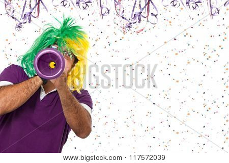 Brazilian guy blowing vuvuzela at Carnival time