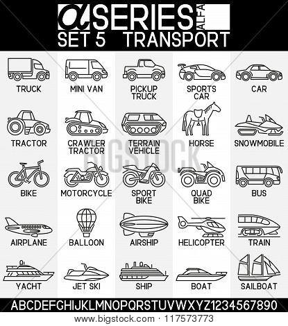 Line Design Icons-transport