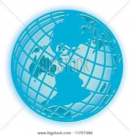 Illustration, transparent blue globe on white background poster