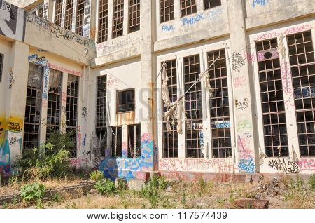 Old Abandoned Power House: Tattered Drapings