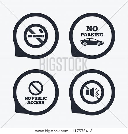 No Smoking, Sound. Private territory parking.