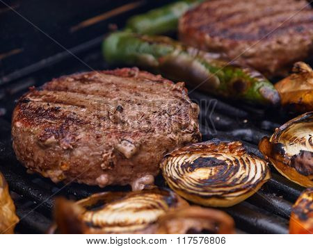Grilling Homemade Hamburgers On A Grill Bbq