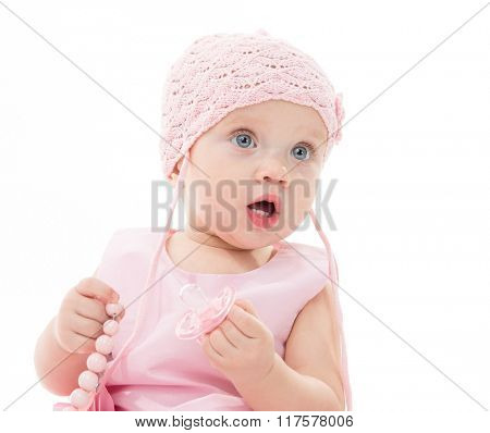 little child baby portrait girl 1 year pink dress hat face baby's dummy soother isolated on white studio shot