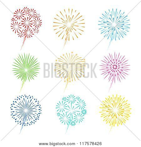 Festive fireworks icons
