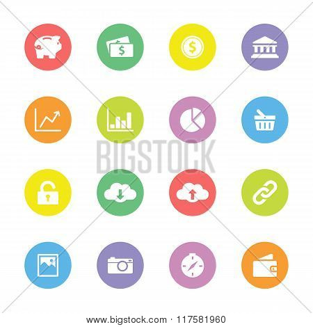 Colorful simple flat icon set 4 on circle