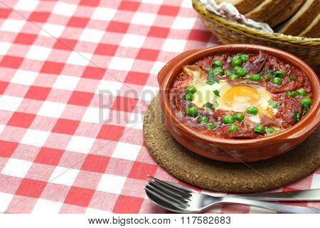 flamenco eggs, huevos a la flamenca, spanish andalusian cuisine