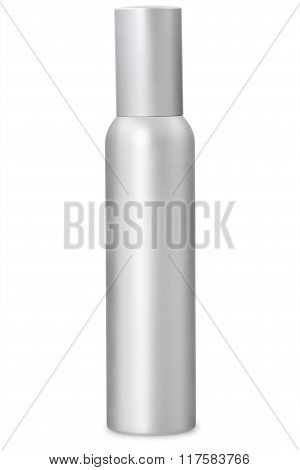 Aluminum container of spray bottle isolated over white background. With clipping path