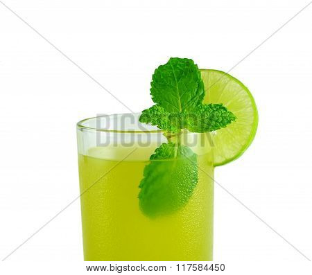 sugarcane juice with mint leaves on white background