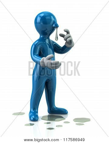 Illustration Of Blue Man With A Flu And Running Nose