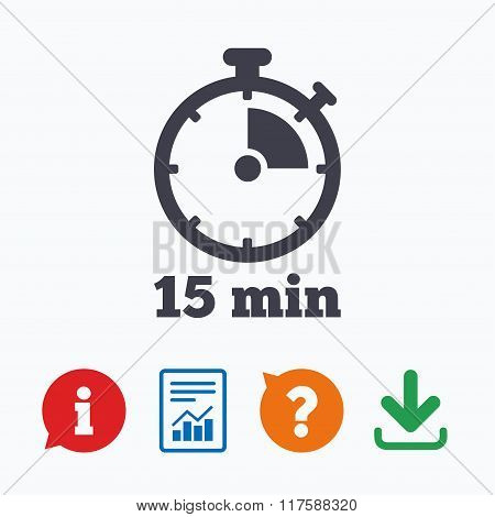 Timer sign icon. 15 minutes stopwatch symbol. Information think bubble, question mark, download and report. poster