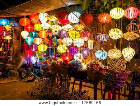 Colorful lanterns at the market street of Hoi An