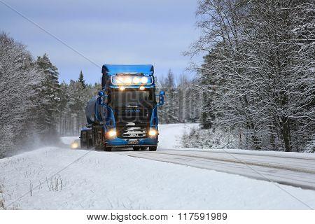 Blue Scania Tank Truck On Blue Winter Road