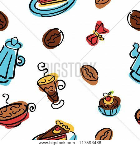 Coffee pattern. Coffee, coffee beans, coffee pot, coffee cup. Dessert and candy.