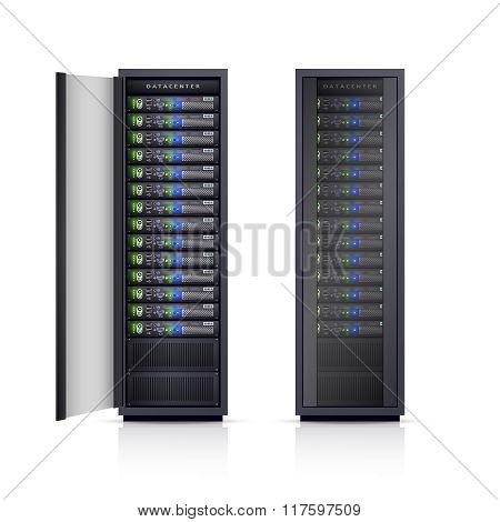 Two Black Server Racks Realistic Illustration