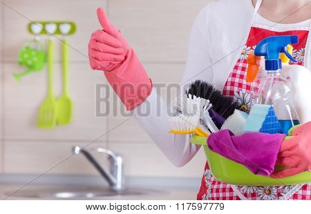 House Cleaner Showing Ok Sign