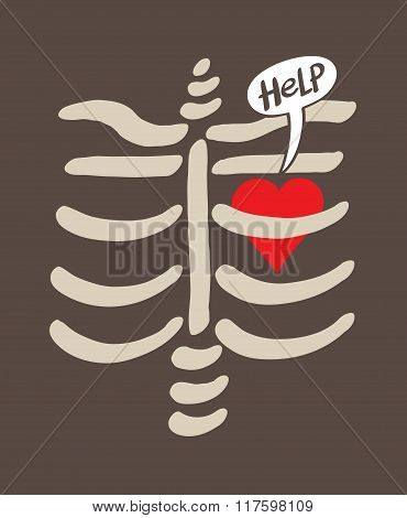 Distressed heart imprisoned inside a rib cage asking for help