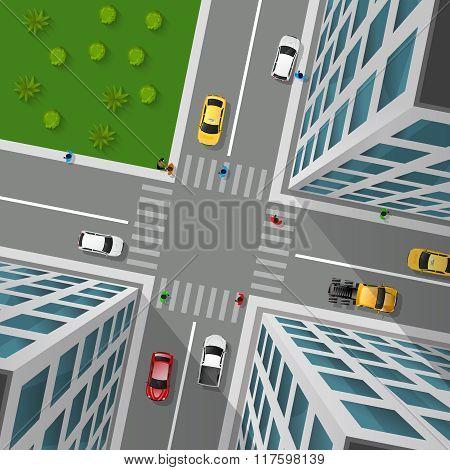 City Street Top View