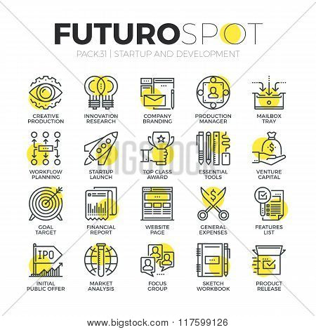 Business Startup Futuro Spot Icons