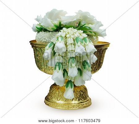 wreath of the flower on the golden pedestal.use for offer honorable people in thai culture