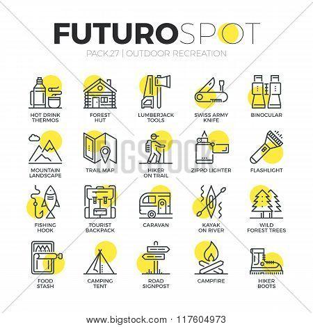 Survival Tourism Futuro Spot Icons