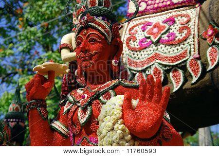 Red god sculpture