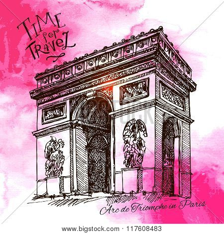 France - Paris - Arc de triomphe - Very detailed vector representation of an Hand drawing poster