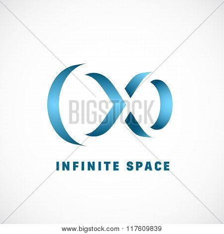 Negative Space Abstract Vector Infinity Sign, Symbol or Logo Template with Gradient.