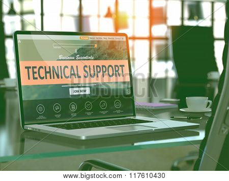 Technical Support Concept on Laptop Screen.