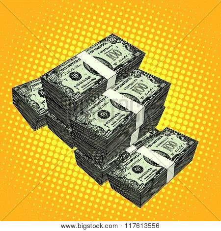 Money bundle of dollars
