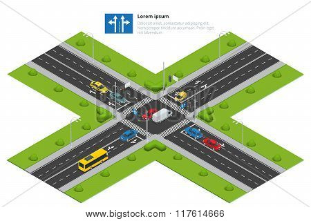 Crossroads and road markings isometric vector illustration for infographics. Transport car, urban an
