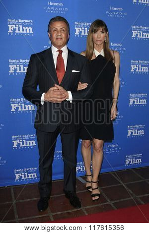 SANTA BARBARA - FEB 9: Sylvester Stallone,Jennifer Flavin at the Montecito Award at the Arlington Theatre at the 31st Santa Barbara International Film Festival on February 9, 2016 in Santa Barbara, CA