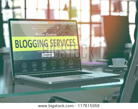 Blogging Services Concept on Laptop Screen.