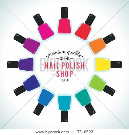 Nail polish women accessories set in a palette