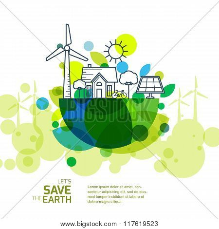 Vector Illustration Of Earth With Outline Of Wind Turbine, House, Solar Battery, Bicycle And Trees.