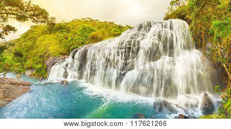 Bakers falls. Horton plains national park. Sri Lanka. Panorama