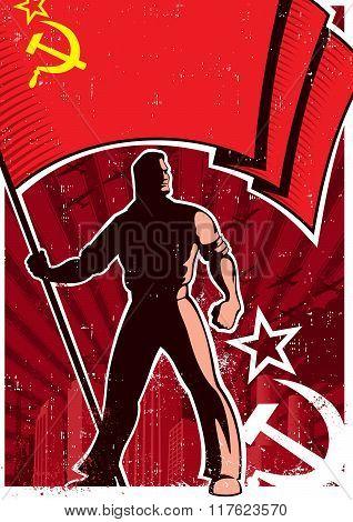 Flag Bearer Poster Ussr