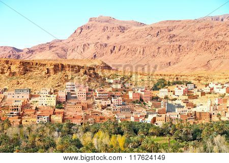 Construction Brown  In    Valley  Morocco         Africa The Atlas Dry Mountain