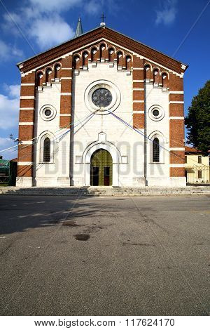 Church     The Varano Borghi  Old   Closed  Tower Sidewalk Italy  Lombardy