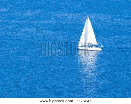 White Sailboat ~ Sailing On Clear Blue Sea