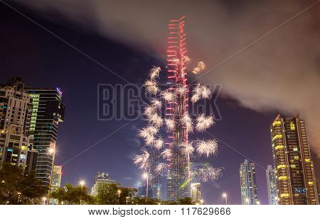 Fireworks From Burj Khalifa On New Year's Eve, January 1, 2016