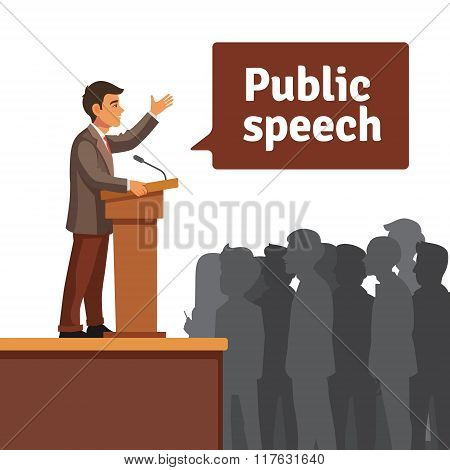 Public speaker speaking to gathered public