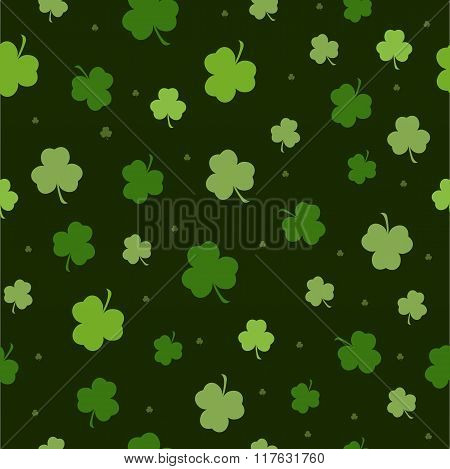 Set of St. Patrick's Day Seamless Patterns with Polka Dot, Argyle, Diagonal Stripes and Clover in Green, Dark Green and White. Perfect for pattern fills, web backgrounds, greeting cards St. Patrick's day background in green colors