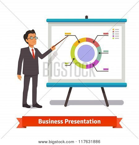 Business man mentor delivering presentation speech