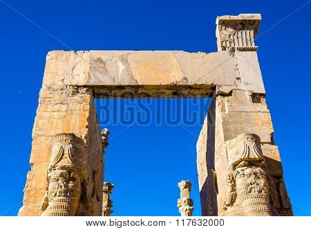 Details Of The Gate Of All Nations At Persepolis - Iran