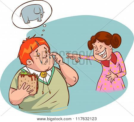 Vector Illustration Of A Cute Fat Boy And Girl