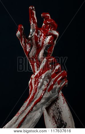 Bloody Halloween Theme: Horrible Zombie Demon Bloody Hands On A Black Background