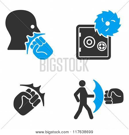 Robbery Fist Strike Flat Bicolor Vector Icons